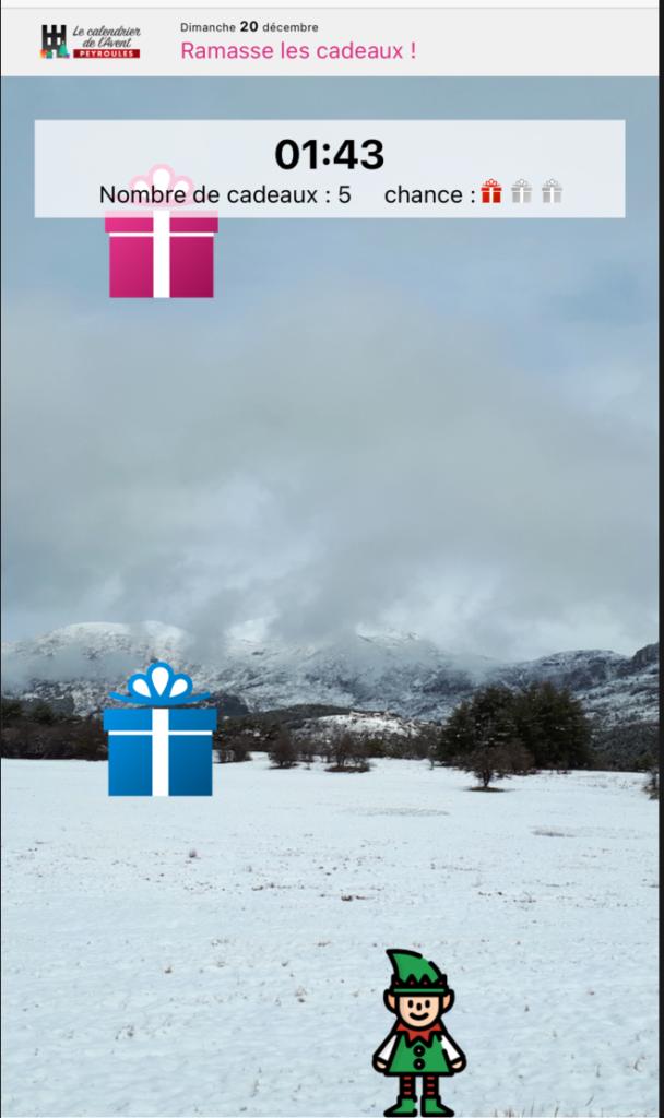 jeu ramasse les cadeaux dans le calendrier de l'Avent